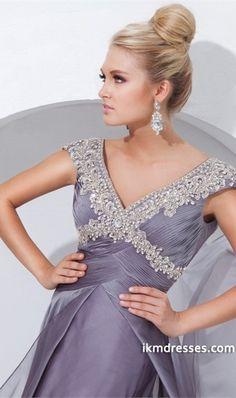 odest Prom Dress Straps V Neck Beaded&Ruffled Chiffon http://www.ikmdresses.com/Modest-Prom-Dress-Straps-V-Neck-Beaded-amp-Ruffled-Chiffon-p82925