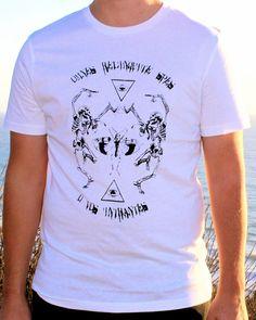 Dancing Skeleton / Floral Skull & Satanic Locust / Third Eye Illuminati Triangle // Halloween // Mens Screenprint Tee Shirt by Clarafornia via Etsy, $35.00