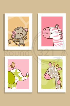 4 X 11 Jungle Jill Prints Custom Prints by Nursery Room, Girl Nursery, Art Wall Kids, Art For Kids, Safari Animals, Baby Decor, Trendy Baby, Baby Gifts, Kids Room