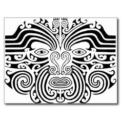 New Zealand Maori Tattoos | Maori Tattoo - Black and White Post Card from Zazzle.com♥ #bluedivagal, Stunning jewelry: bluedivadesigns.wordpress.com