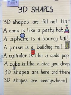 What a practical shape anchor chart! Elementary Math, Kindergarten Classroom, 3d Shapes Kindergarten, Kindergarten Poems, Classroom Ideas, Numbers Kindergarten, Math Resources, Math Activities, 3d Shapes Activities