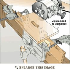 woodworking shop Self-Centering Mortising Jig Woodworking Plan from WOOD Magazine - Here's a quick-and-easy jig that can be used on stock of various thicknesses and will always self-center. Woodworking Jigsaw, Woodworking Courses, Woodworking School, Woodworking Hand Tools, Router Woodworking, Popular Woodworking, Woodworking Furniture, Woodworking Crafts, Woodshop Tools