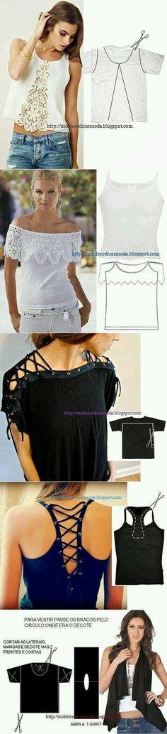 Ideas for diy clothes refashion tshirt tanks Clothing Patterns, Dress Patterns, Sewing Patterns, Shirt Patterns, Diy Fashion, Ideias Fashion, Fashion Design, Moda Fashion, Fashion Ideas