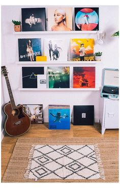 Classic and contemporary collectible vinyl. Hip-hop, pop and rock records to love for a lifetime. Perfect gifts for music lovers. Indie Room, Retro Room, Vintage Room, Bedroom Vintage, Room Ideas Bedroom, Bedroom Decor, Rock Bedroom, Bedroom Inspo, Gift For Music Lover