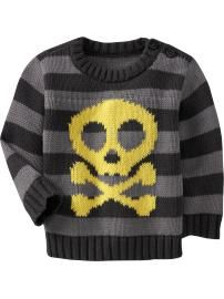 They didn't make skull sweaters for the baby girls! She'll just have to roll with the boys! (and pink legs)