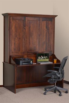 Amish Vertical Wall Murphy Bed with Desk   Amish Beds   Amish Bedroom Furniture 44900