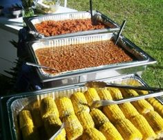 An outdoor reception for a summer wedding is also lots of fun. You could have a picnic, BBQ, or a low country boil in a park or even in your own back yard. Picnic themes are easy too!  You could include the traditional picnic foods such as salads, fried chicken, corn on the cob, green beans, rolls, burgers, pulled pork.