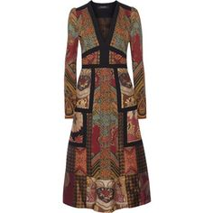 Etro - Patchwork Printed Crepe And Jacquard Dress