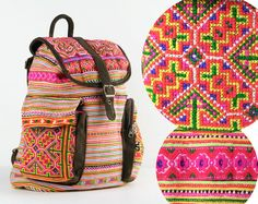 Tribal Backpack Slouchy Bag Boho Hippie Gypsy Unique by TaTonYon