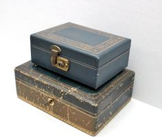 pair of vintage jewelry boxes // Italian leather by RedTuTuRetro, $35.00