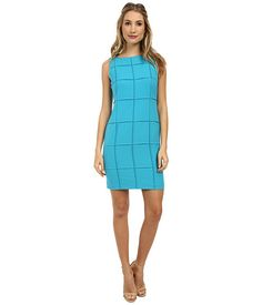 Calvin Klein Calvin Klein  Lux Sheath w Squares CD4X1366 Cyan Womens Dress for 89.99 at Im in!