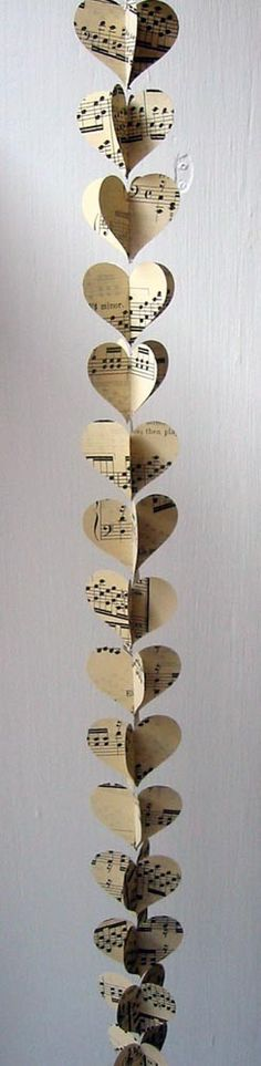 Heart Garland- Vintage Sheet Music - could be done with story book pages and colored paper also