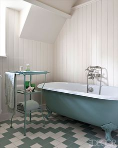 Elle Decor| 19th century renovated home in Normandy, France -the floor tiles are by Winckelmans