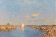 Edward Seago - October afternoon on the Thurne
