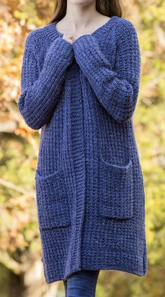 Free Knitting Pattern for 2 Row Repeat Penelope's Cardigan - Long-sleeved A-line sweater knit in a 2 row repeat Garter Rib. Extra Small (Small, Medium, Large, 1X, 2X, 3X). Bulky yarn. Designed by Amy Gunderson for Universal Yarns.