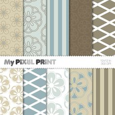 Floral Flowers Stripes Blue Beige Brown - Digital Paper Pack INSTANT DOWNLOAD! Use for digital backgrounds - Print for scrapbooking, papercrafts, decorations, cards, birthday invitations, planners - DIY