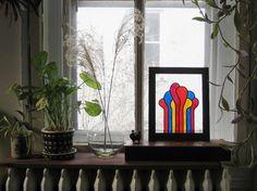 Modern Suncatcher Paint Drips Glass Art Sunroom by Circa78Designs #jungalow