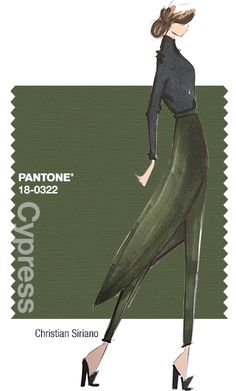 Christian Siriano - PANTONE Color Cypress - Fall 2014 Pantone Fashion Color Report - PROMINENT COLORS We wanted this color to be elegant and sophisticated for evening. We are using Black Forest Green, which is deep and dark, and Shadow Purple, which is deep in tone but still vibrant and exciting.