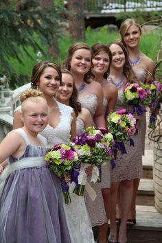 Alex and RJ- the bride with her maids by Cinderella Gazebo . . . #BlackHillsReceptions