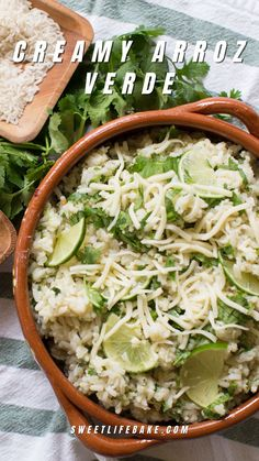 A creamy rice dish made with fresh tomatillos, cilantro, lime juice and plenty of shredded cheese, then baked until bubbly—this is one of my favorite weekday meals. Today I am excited to partner with Mahatma Rice to share with you a recipe for creamy arroz verde that is sure to be a hit with your family. Bhg Recipes, Lunch Recipes, Vegetable Recipes, Mexican Food Recipes, Real Food Recipes, Fancy Dishes, Dinner Dishes, Side Dishes Easy, Recipes