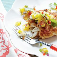 Crispy Crab Cakes with Mango-Pineapple Salsa Recipe - 39 Mouth-Watering Crab Recipes - Coastal Living Mobile Crab Dishes, Seafood Dishes, Fun Cooking, Cooking Recipes, Cooking Light, Vegetarian Recipes, Healthy Recipes, Mango Pineapple Salsa, Crab Recipes