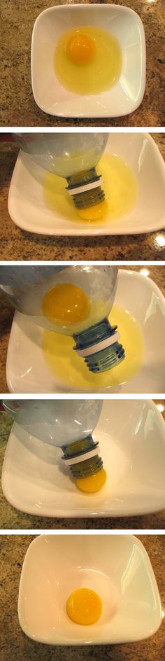 Plastic Water Bottle Egg Separator – crack egg in bowl, squeeze a clean empty water bottle directly over yoke, release squeeze to suck yoke into bottle, squeeze bottle again to push yoke out
