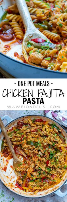 4 Points About Vintage And Standard Elizabethan Cooking Recipes! This Tasty One-Pot Chicken Fajita Pasta Takes Just 30 Minutes To Make. Also, The Best Thing Is That You Only Have One Pot To Clean Afterward. Pasta Recipes Video, Chicken Recipes, Cooking Recipes, Recipe Videos, Easy Recipes, Fajita Pasta Recipe, One Pot Meals, Easy Meals, One Pot Chicken