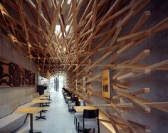 This incredible Starbucks café in Fukuoka, Japan has a unique weaved wood interior that is intended to complement the surrounding neighborhood and the nearby Dazaifu Tenmangu temple. The café was designed by Japanese architecture firm Kengo Kuma and Associates.
