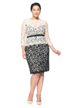 Lace ¾ Sleeve Dress with Grosgrain Ribbon Belt - PLUS SIZE | Tadashi Shoji