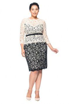 Lace ¾ Sleeve Dress with Grosgrain Ribbon Belt - PLUS SIZE | Tadashi Shoji