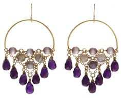 Earrings with Cascade Chain Embellished with Cat's Eye and Jasper and Amethyst Stones by Susan Suell