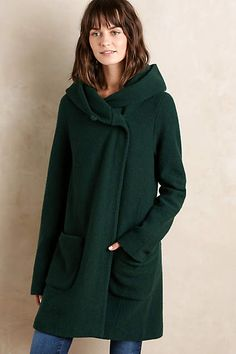 Boiled Wool Sweater Coat - anthropologie.com - In Green - Size Small