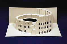 Kirigami Colosseum Kirigami Templates, Origami And Kirigami, Paper Crafts Origami, 3d Paper, Kirigami Tutorial, Origami Architecture, Pop Up Art, Paper Engineering, Color Crafts