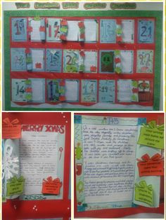 Descriptive writing advent calendar. Pupils open one door every day and read out their description. The class give them peer assessment 'presents' that reflect the strengths of the writing.