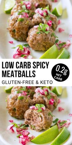 This low carb spicy meatballs recipe is a gluten-free lunch or dinner idea that's perfect for those who follow a keto diet. This recipe is also great for freezing and meal prepping. Gluten Free Meatballs, Spicy Meatballs, Porcupine Meatballs, Kitchen Recipes, Diet Recipes, Vegan Recipes, Diet Tips, Lunch Recipes, Summer Recipes