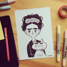 "@frannerd's photo: ""Frida and Kahlo, my new print available on my Etsy Shop! Frannerd.etsy.com """