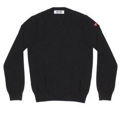 Play Little Red Heart V Neck Sweater (Black)