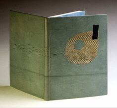 La Couleur du Vent bound by Lang Ingalls // French technique fine binding bound in sea foam blue goatskin, python and lizard inlays, title blind tooled on spine