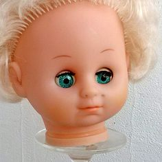Vintage doll's head Rubber doll puppet parts Chubby by MyWealth