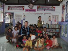 Inside the school.  I had to teach them to say hello and goodbye