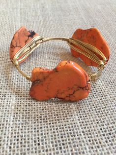 Bourbon and Boweties Orange Turquoise Slab Large Wrist