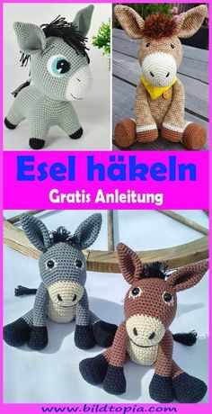 In this free DIY tutorial, I will show you how to make a sweet amigurumi . In this free DIY tutorial, I will show you how to crochet a cute Amigurumi donkey yourself. The crochet pattern is easy to rework even for beginners. Crochet Amigurumi, Amigurumi Patterns, Knitting Patterns, Crochet Patterns, Amigurumi Doll, Crochet Hooks, Crochet Baby, Free Crochet, Easy Crochet