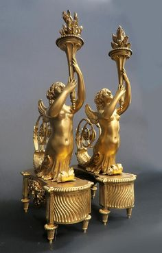 """""""Henry Dasson"""" Signed Pair of Figural Bronze Chenets - Mar 2018 Baroque Decor, French Signs, Bronze, Table Arrangements, Rococo, Candlesticks, Vintage Antiques, Art Nouveau, Candle Holders"""