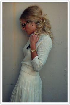 Vintage Cream Sweater,Vintage pleated skirt,sam edelman Leopard Print Heels