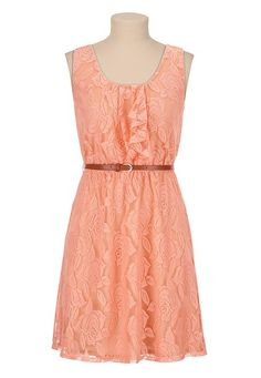 Belted Ruffle Front Lace Dress