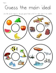 This works well for small groups or centers. You will need to cut out and laminate each of the 'details' and put them into a sack. Next, the students will look through each sack and try to figure out what is the main idea of the sack. Reading Lessons, Teaching Reading, Guided Reading, Learning, Reading Tips, Reading Centers, Reading Groups, Reading Strategies, Reading Skills