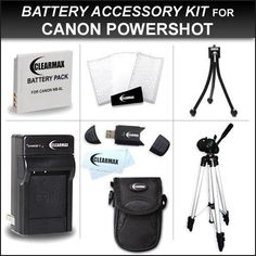 Clearmax® Accessories Bundle Kit for Canon Powershot Elph SX260 HS, ELPH 500, S95 Digital Camera Includes Extended Replacement Canon NB-6L Battery + Ac/dc Charger + 50 Inch Pro Tripod w/ Case + Camera Case + USB 2.0 Sd Reader + LCD Screen Protectors + Mini Tripod + Microfiber Cleaning Cloth - http://yourperfectcamera.com/clearmax-accessories-bundle-kit-for-canon-powershot-elph-sx260-hs-elph-500-s95-digital-camera-includes-extended-replacement-canon-nb-6l-battery-acdc-charger