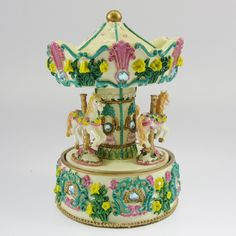 Green & White Musical Carousel Music Box Plays Green Sleeves