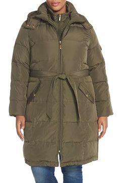 Plus Size Women's Ellen Tracy Belted Down Coat