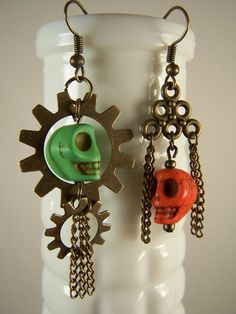 Skull and Gear Earrings by ArtOfAlice on Etsy
